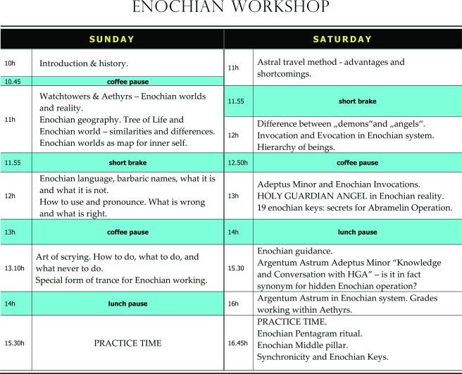 Enochian workshop