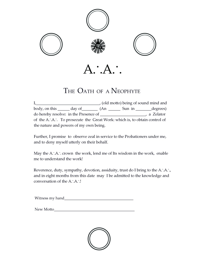 Oath of the Neophyte