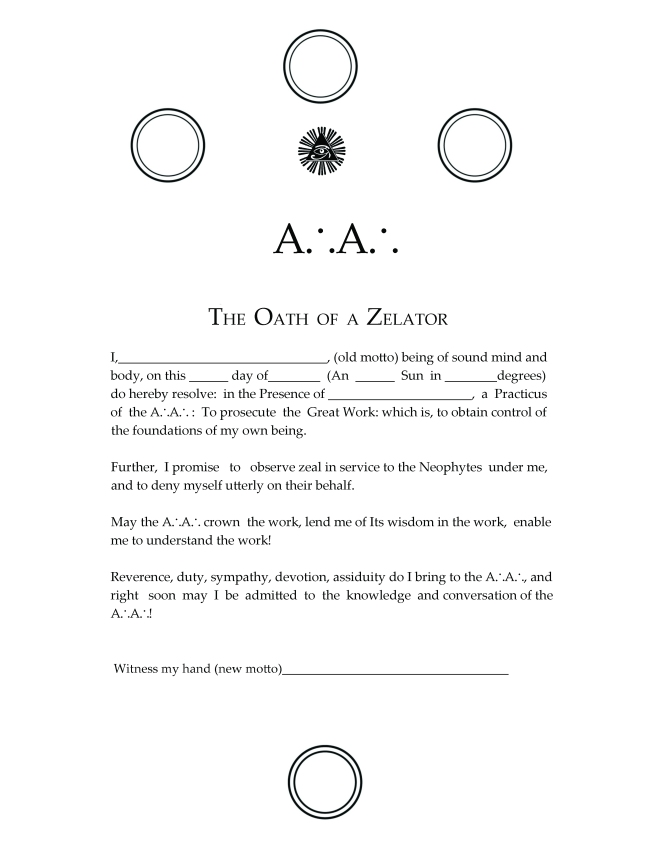 Oath of the Zelator