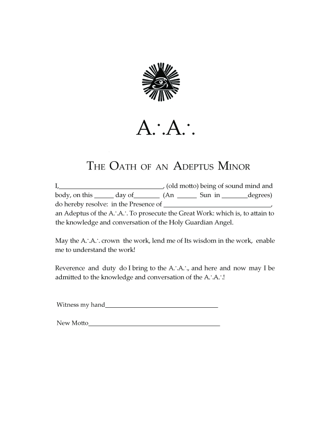 Oath of the Adeptus Minor